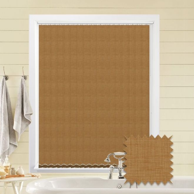 Made to Measure Vertical Blinds in Oslo Maple fabric Premium Colour Light Brown - Just Blinds